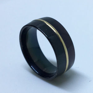 Black Plated with Gold Center ring Line ring